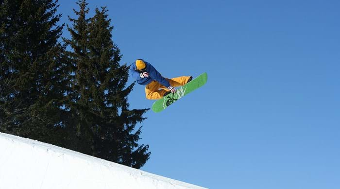 Snowboarders are rather fond of the half pipes in Avoriaz
